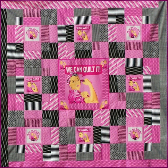 REALLY ROSIE Quilt Pattern - B J Q 108 --- Printable Download Pdf E-Pattern Diy Free Shipping Digital Pattern Pink Black White Panel Fabric
