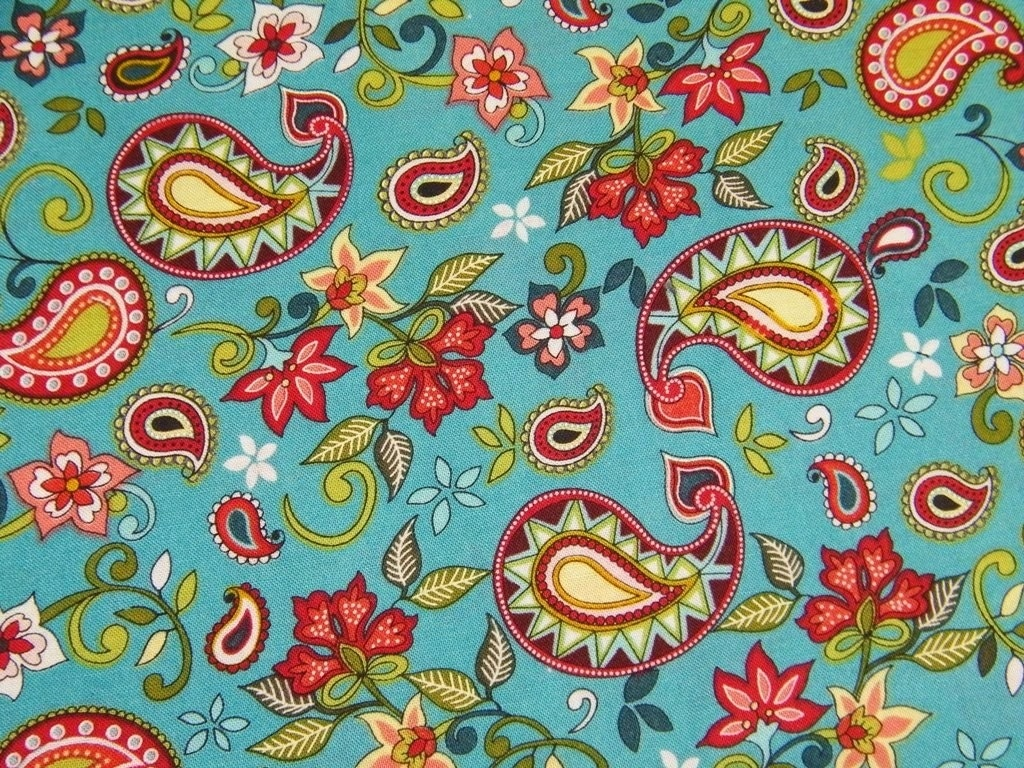 Turquoise paisley fabric destash sale 1 yard for Fabric for sale by the yard