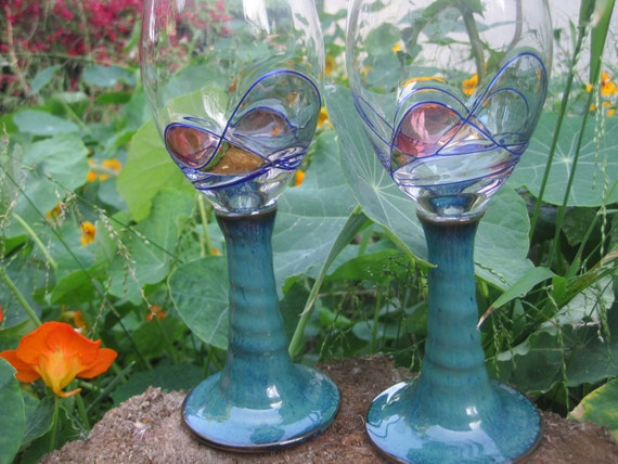 Stoneware Stained Glass Wine Glass Set