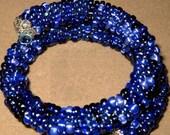 SALE - Blue Bead Bracelet Cobalt Navy Wrap Bangle Crochet Rope Glass Bead COIL Cuff