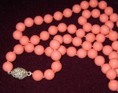 34 inch Pearl Bead Necklace Pink Shell Pearls Hand Knotted