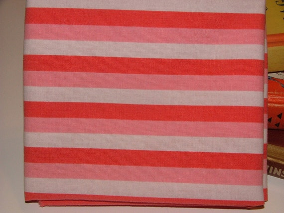 Double Strawberry Stripe  - really fat quarter - vintage linens fabric