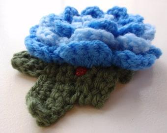 Blue Crocheted Flower Pin