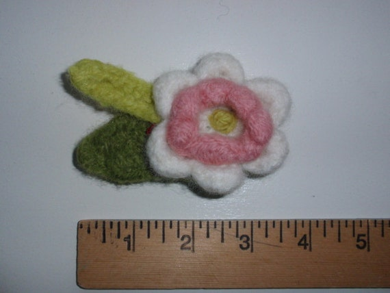 Felted Flower Pin White and Pink
