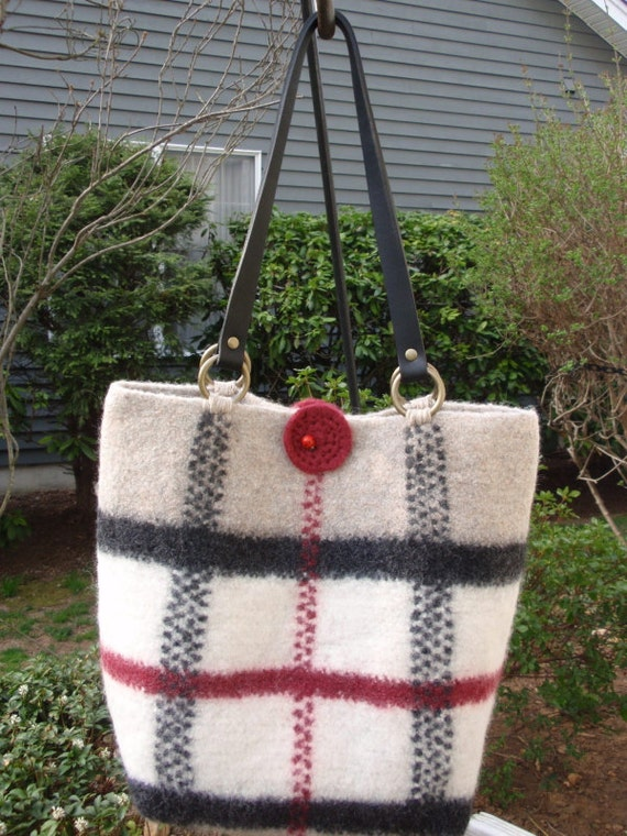 Large Crochet Plaid Tote,  Beige, Off White, Dark Red and Black