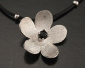 Cherry Blossom Pendant--Sakura Blossom--Hand cut and Formed Sterling Silver set with YOUR CHOICE of Genuine Semi-Precious Stone