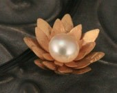 14K Gold Lotus Blossom Pendant - OOAK - Asian Inspired Jewelry - Stunning Fresh Water Pearl - Hand Cut and Formed - Lotus Blossom Pendant