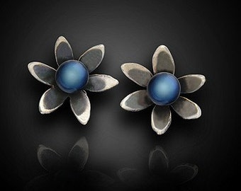 Floral Nouveau Earrings--Handmade in Sterling Silver with Black Fresh Water Pearls - Elegant Design - Strikingly Beautiful Earrings