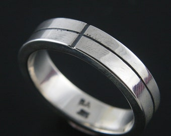 Subtle Cross Ring--Sterling Silver Band--Religious Ring--Men's Wedding Band--Flat Edge Ring--Cross Motif Band--Christian Ring--Catholic Ring