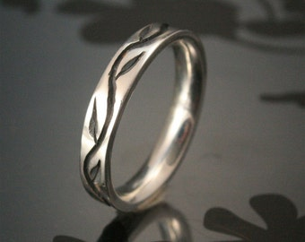 Thin Thymes Ring--Hand Made Wedding Band--Sterling Silver Carved and Cast Vine and Leaf Wedding Band--Comfort Fit and Custom Made to Size