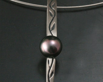 Thymes Tahitian Pendant--OOAK Handcarved and Cast in Sterling Silver--Set with a Genuine Fancy Color Tahitian Pearl -Stunning Obelisk Design