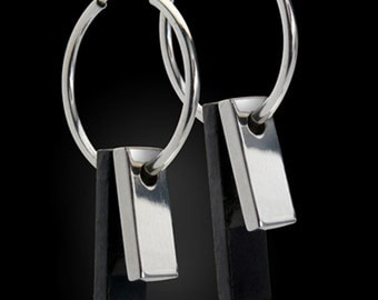 The Tuxedo Earrings--Modern Inspired Earrings in Black and White--14K White Gold with Black Silver Men's Band - High Fashion Jewelry