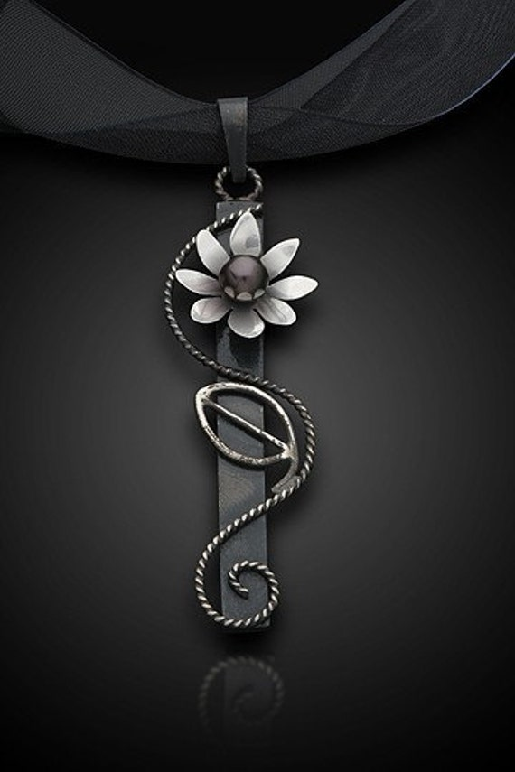 Floral Nouveau Pendant--Hand Formed Sterling Silver Floral and Vine Pendant -Genuine Black Fresh Water Pearls -Asian Inspired Jewelry