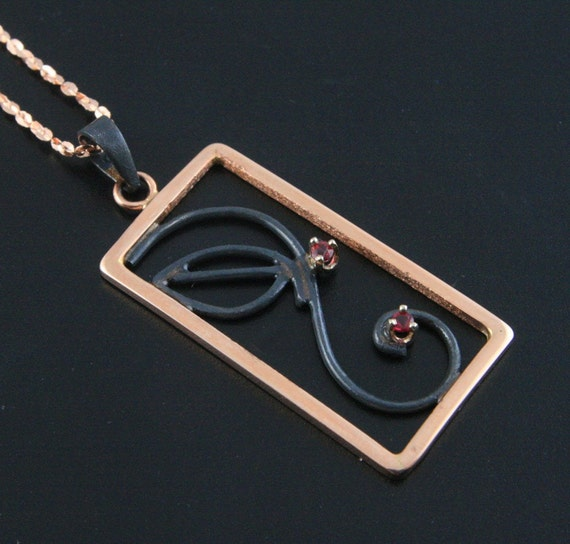 Black Ruby Vine Pendant--Handmade in 14K Rose Gold and Oxidized Sterling Silver set with Genuine Rubies