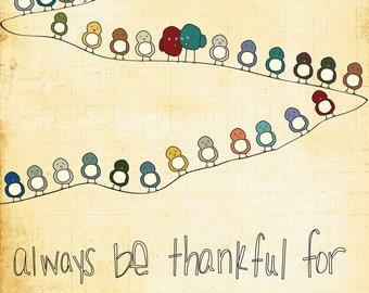 Nursery Wall Art - Thankful For You - Birds on a wire, family, art, thankful, nursery wall art, nursery decor