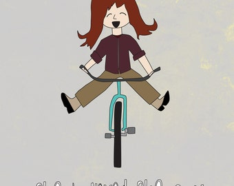 Wall Art - 8x10 Illustration Art Print - You Can Do Anything - Cute, Motivational, Bike, Inspirational, Wall Decor