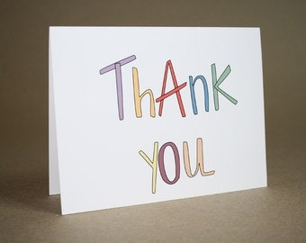 Thank You Card - Thank you, colorful, handmade, thinking of you, appreciative, appreciation