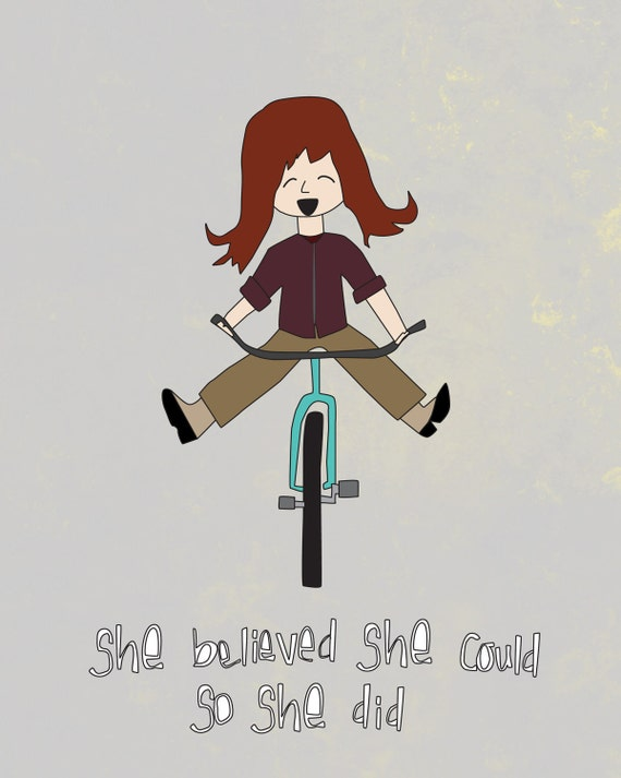 Wall Art - 8x10 Illustration Art Print - You Can Do Anything - Cute, Motivational, Bike, Inspirational, Wall Decor