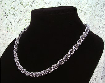 Stainless Steel Double Spiral Chainmaille Necklace