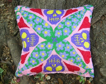 Day of the Dead Skulls and Flowers, Handmade Pillow, Memento Mori, Gothic Fantasy, Purple, Green, Red, Pink, Hearts