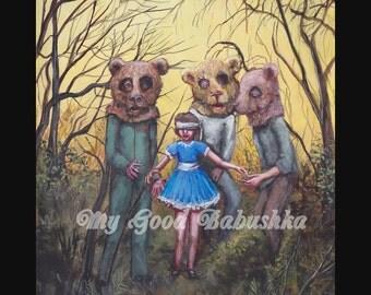 Teddy Bears' Picnic Print, Fairy Tale, Folk Tale, Dark Art, Bear Costumes, Wearing a Blindfold, Blue Dress, Horror Art, Three Bears