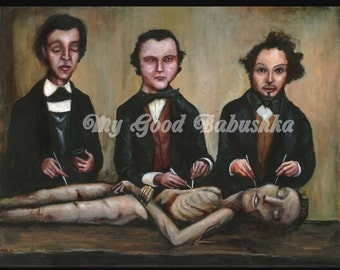 The Three Anatomists Print, Vintage Medical Themed Art, Victorian Doctors, Memento Mori, Anatomical Art, Dissection, Corpse, Autopsy