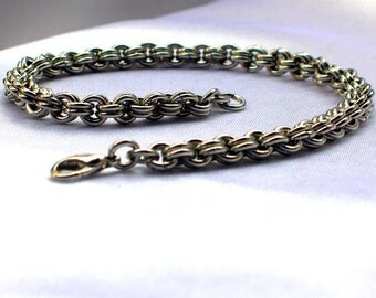 Fine Double Cable Chainmaille Bracelet, goth bracelet, sca bracelet, chain bracelet