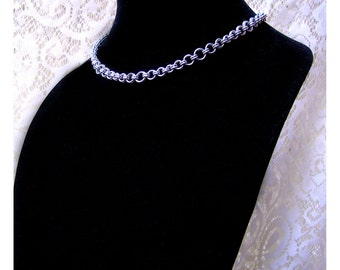 Fine Double Cable Chainmaille Choker, Mixed Rings