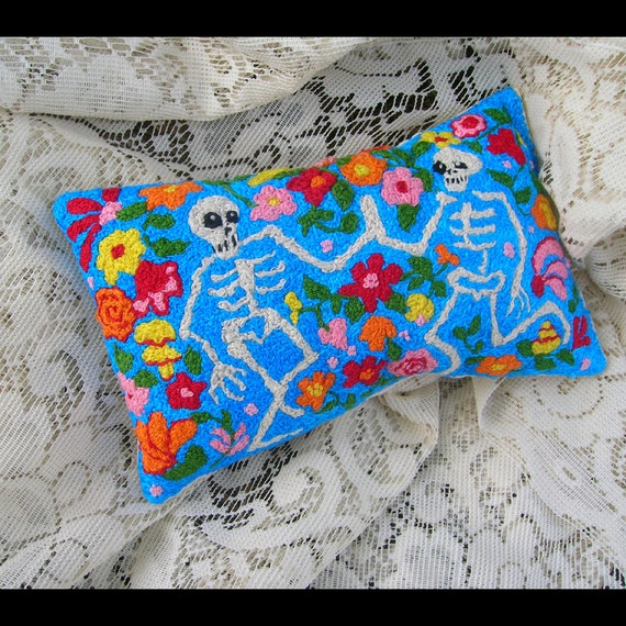 Day of the Dead  Danse Macabre. Handmade Pillow. Dancing Skeletons. Flowers. All Hand Embroidered