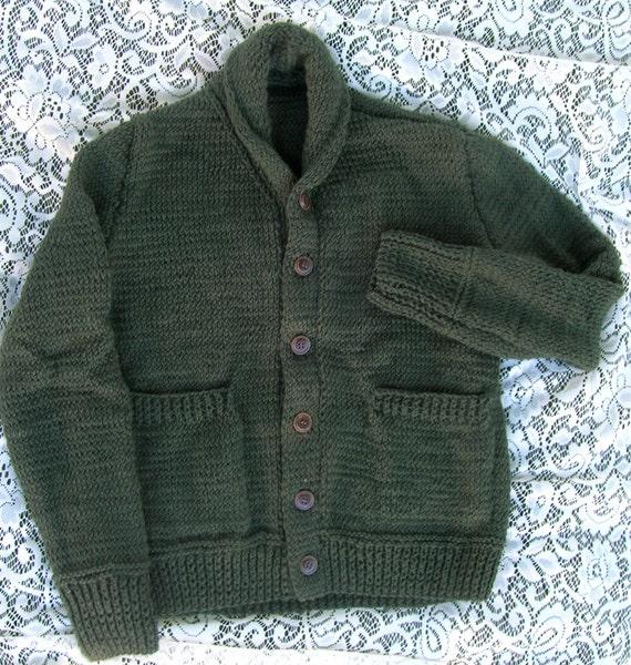 Shawl Collar Cardigan in Evergreen For a Man or Woman