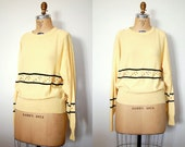 vintage 1970s Sonia Rykiel Sweater / 70s Yellow Studded Wool Sweater