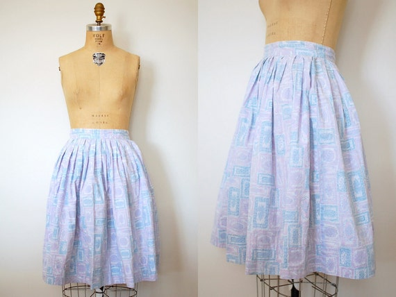 50s skirt / 1950s cotton skirt / Pink and Blue Pastel