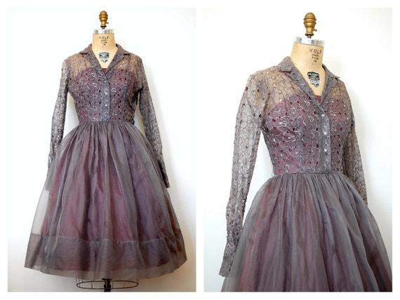 1950s dress / 50s Jonathan Logan party dress / Dusky Cutout Floral