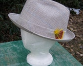 VINTAGE Fedora HAT - DOBBS - Beige, tan and brown plaid - yellow and rust colored feathers