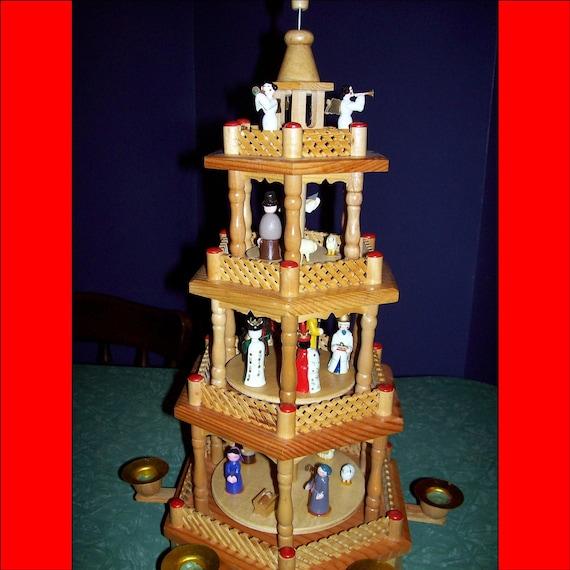 vintage rotating german christmas pyramid four tier nativity. Black Bedroom Furniture Sets. Home Design Ideas