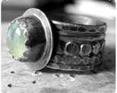 Canterbury Lime - sterling silver ring with prehnite cabochon