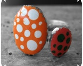 Perky Polka Stackers - sterling silver epoxy resin stacking rings