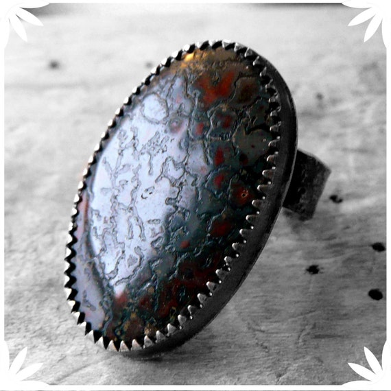 Thunder Lizard - sterling silver fossilized dinosaur bone cabochon ring
