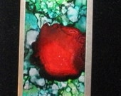 Dexter inspired microscope slide pendant, alcohol ink, double sided, statement, unisex
