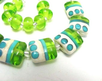 Lime Green, Ivory, and Turquoise Nuggets