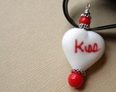 Modern Red and White Heart Pendant Romantic Love Flirt Under 40