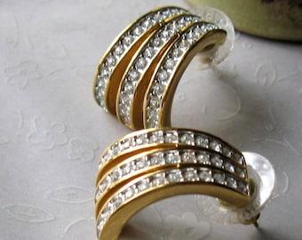 1980s Vintage Gold Rhinestone Post Earrings Gold Retro Earrings Under 30