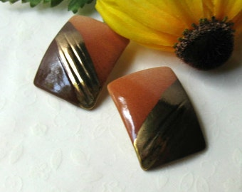 Vintage Terracotta Ceramic Post or Stud Earrings Tribal Boho Rustic Geometric, Under 25
