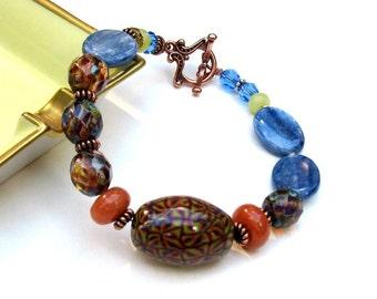 Blue Kyanite Copper Boho Beaded Bracelet, Natural Blue Kyanite Clasp Bracelet,  One of a Kind, for Girlfriend Under 100