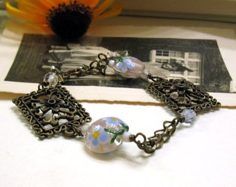 Brass Filigree Boho Wire Wrapped Beaded Bracelet, for Her Under 50, One of a Kind