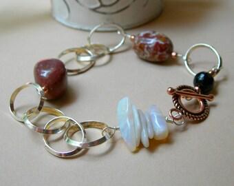 Picture Jasper Boho Silver Chain Bracelet, Jasper Silver Link Bracelet, Natural Opal, For Her Under 50