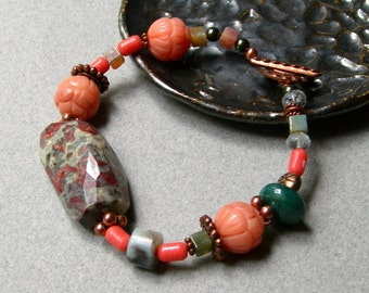 Ocean Jasper and Copper Boho Beaded Clasp Bracelet, Natural Coral Clasp Bracelet, For Her Under 80, One of a Kind
