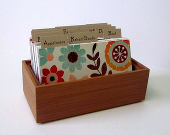 Recipe Box...Bamboo...Recipe Cards... 3 by 5 with Fun Colorful Dividers..Ready to Ship