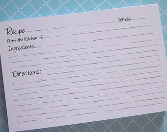 50 Super Cute 4 by 6 inch  Recipe Cards...Perfect for Recipe Box