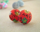 Mae - Red Vintage Fabric Button Post Earrings